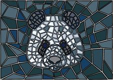 Panda Stained glass Mosaic black gray background royalty free illustration