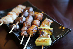 Mix yakitori pork and chicken Royalty Free Stock Image