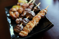 Mix yakitori pork and chicken Royalty Free Stock Photography