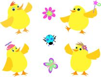Mix of Yellow Chickens, Beetle, Butterfly, and Flo Royalty Free Stock Images