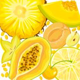 Mix yellow fruits and berries Stock Photography