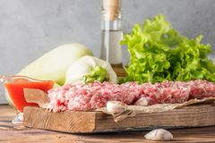 Mixe of ground meat minced beef and pork. Mixe of ground meat cutlets minced beef and pork Set for cooking barbecue steaks kebabs sausages fried on fire Food Stock Photography