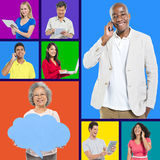 Mixed Age With Social Networking Stock Photos