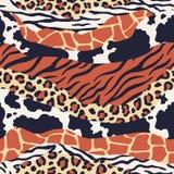 Mixed animal skin print. Safari textures mix, leopard, zebra and tiger skins patterns. Luxury animals texture seamless stock illustration