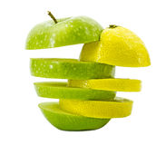 Mixed apple and lemon on white background Stock Image