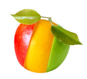 Mixed apple orange fruit Stock Images
