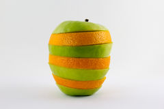 Mixed apple and orange  on white background Royalty Free Stock Photo