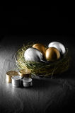 Mixed Asset Management. Concept image for mixed asset financial management. Mixed gold and silver goose eggs in a grass birds nest against a black background stock image
