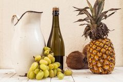 Mixed with autumn fruits and a pitcher Royalty Free Stock Photos