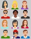 Mixed avatars, women and men. Vector icon Stock Photos