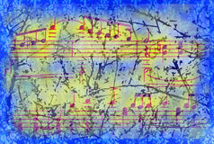 Mixed background with music notes signs Royalty Free Stock Photography