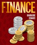 Bahraini Dinars Coins Stacks Cover Poster Design Stock Image