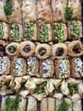 Mixed Baklava. Fresh assorted mixed baklava royalty free stock photo