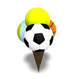 Mixed balls in an ice cream cone Stock Image