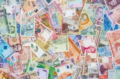 Mixed banknotes collection used for background, royalty free stock photo