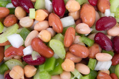 Mixed beans salad on table Stock Photos