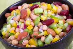 Mixed beans and vegetables salad bowl Royalty Free Stock Photos