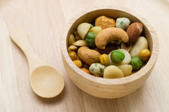 Mixed beans in wooden bowl Royalty Free Stock Images