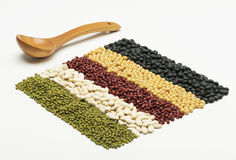 Mixed beans and wooden tablespoon Stock Photography