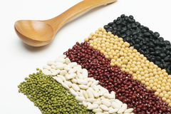 Mixed beans and wooden tablespoon Royalty Free Stock Images