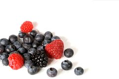 Mixed Berries. Isolated on a white background royalty free stock photos