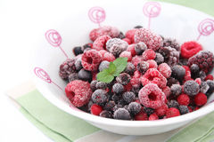 Mixed berries. Some frozen mixed berries in a bowl Stock Images