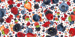 Mixed Berries background (on white) Royalty Free Stock Photos