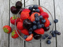 Tasty Summer fruits. Stawberries,Blueberries and cherries   Royalty Free Stock Photography
