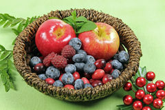 Mixed berries. With Christmas decoration stock photo