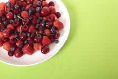 Mixed berries with copyspace. Top view. Royalty Free Stock Images