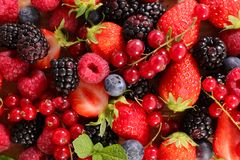 Mixed berries fruits. Close up on mixed berries fruits royalty free stock photography
