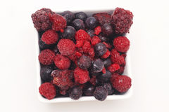 Mixed Berries including raspberry, blueberry, blackberries. Mixed berries  on a white background Royalty Free Stock Photos