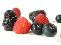 Mixed berries isolated on white Royalty Free Stock Photo