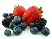 Mixed berries isolated on white Stock Photo