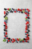 Mixed berries shaped as a frame on slate background Royalty Free Stock Image