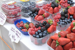 Mixed Berries at Sunday Market in Prague. Strawberries, raspberries, blue berries and black berries in plastic box at Sunday Market in Praguenn Royalty Free Stock Photos