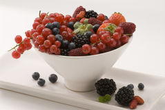 Mixed berries in a white bowl. Stock Photography