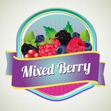 Mixed berry badge. Additional file in eps 10 Stock Photo
