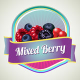 Mixed berry badge. For pacakaging or other product Stock Photos