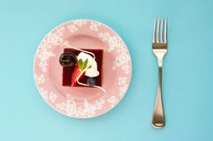 Mixed Berry Cheesecake Slice. Overhead shot with retro pastel colors Stock Photos