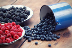 Mixed berry fruits. On table Royalty Free Stock Image