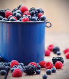 Mixed berry fruits. On table Stock Images