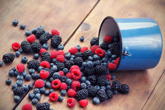 Mixed berry fruits. On table Stock Photo