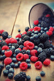 Mixed berry fruits. On table Royalty Free Stock Photo