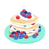 Mixed berry pancake  illustration Stock Image