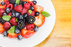 Mixed Berry Salad with Mint Royalty Free Stock Image
