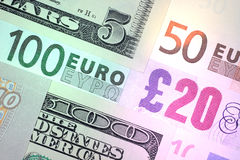 Mixed bills. Mix of USD, EUR and GBP bills Stock Photos