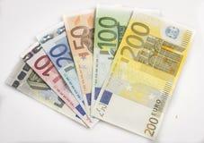 Mixed bills of Euro Stock Image