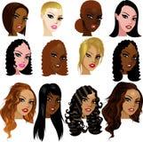 Mixed Biracial Women Faces. Vector Illustration of Mixed Biracial Women Faces. Great for avatars, makeup, skin tones or hair styles of mixed women vector illustration