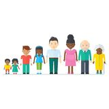 Mixed black family. Multicultural ethnic people. Flat vector cartoon illustration. Objects isolated on a white background Royalty Free Stock Photography